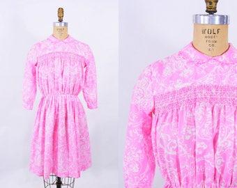 "ANNIVERSARY SALE // 1960s floral dress | pink white smocked teen size dress | vintage 60s dress | W 26"""