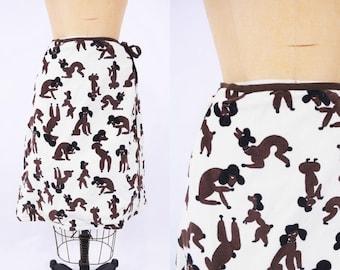 "ANNIVERSARY SALE // 1970s novelty skirt | poodle dog print velour wrap skirt | vintage 70s skirt | W 25"""