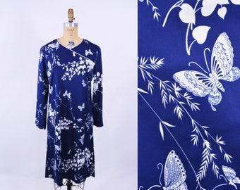 1970s dress | navy blue butterfly print long sleeve dress | vintage 70s dress | W 36""