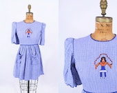 Vintage 1960s Dress Embroidered Gingham Jump Rope Girl Dress W 26 quot