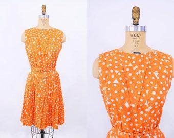 "ANNIVERSARY SALE // 1960s dotted dress | mid century orange polka dot belted dress | vintage 60s dress | W 25"""