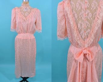 "ANNIVERSARY SALE // 1980s bustle dress | peach victorian style sheer lace neckline dress | vintage 80s dress | W 26"""