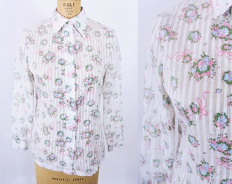 """ANNIVERSARY SALE // 1980s floral blouse 