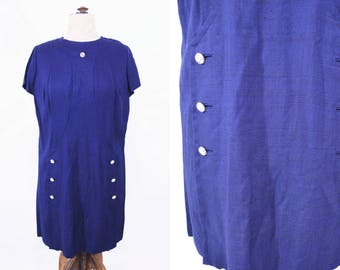 "ANNIVERSARY SALE // 1960s shift dress | navy blue mod shift dress | vintage 60s dress | W 42"""