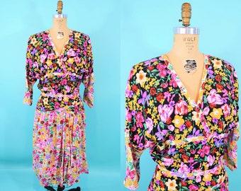 "Vintage 1990s Floral Dress   Surplice Mixed Print Silky Dress   W 28"""