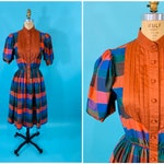 Vintage 1970s Plaid Dress | Fall Rust Checkered Puff Sleeve I. Magnin Dress | W 24-30""
