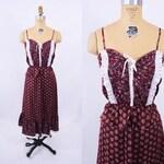 "1970s boho dress | maroon calico Pumper Nickel top skirt set | W 20""+"