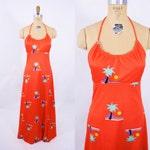 "1970s halter dress | red scoop neck palm tree novelty print maxi dress | vintage 70s dress | W 27"""