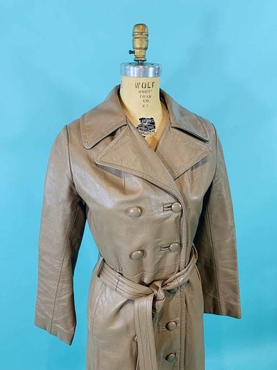 Vintage 1970s Leather Jacket   Taupe Faux Leather… - image 5