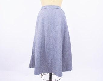 "Vintage 1970s Wool Skirt   MJ Button Side Gray High Waist Skirt   W 23"""