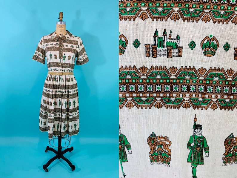 Vintage 1950s Scenic Dress  Novelty Print Cotton Belted image 0