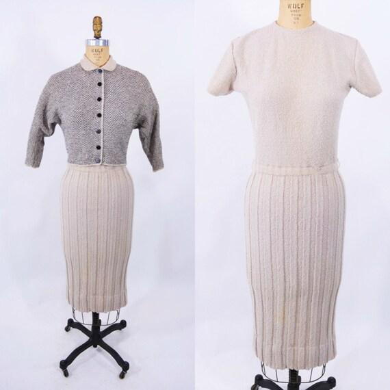 Vintage 1940s Sweater Dress | Beige Boucle Wool Kn