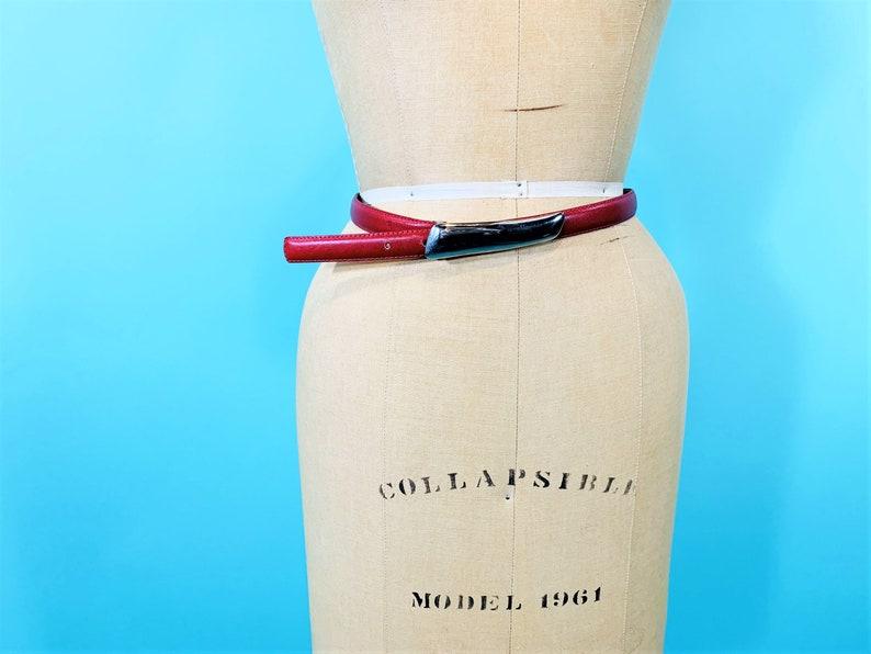 Vintage 1980s Red Belt  Silver Buckle Rayman Ridles Belt  W image 0