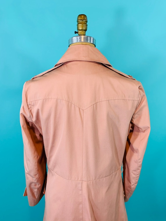 Vintage 1980s Peach Trench | Light Peach Pink Tre… - image 8