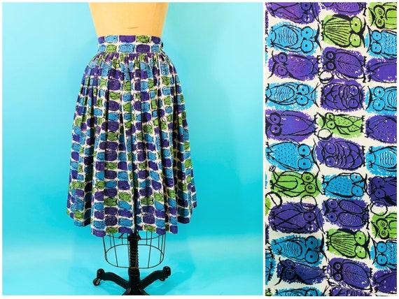 Vintage 1950s Owl Skirt | Novelty Print Cotton Ski