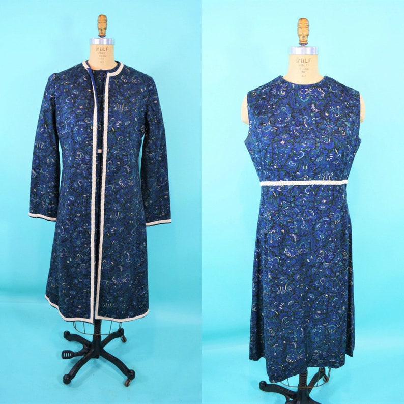 Vintage 1960s Dress Set  Blue Floral Novelty Print Coat image 0