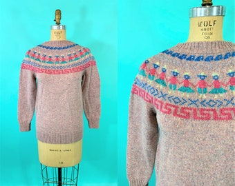 "Vintage 1980s Pink Sweater   Fair Isle People Metallic Novelty Pullover   B 34"""