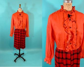 "Vintage 1960s Mod Dress   Red Bright Orange Fall 2 Piece Look Plaid Dress   W 31"""