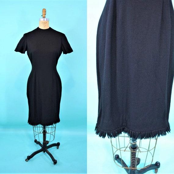 Vintage 1950s Wool Dress | Black Fringe Hem Hourgl
