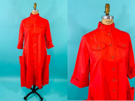 Vintage 1950s Trench Dress | Bright Red Button Up