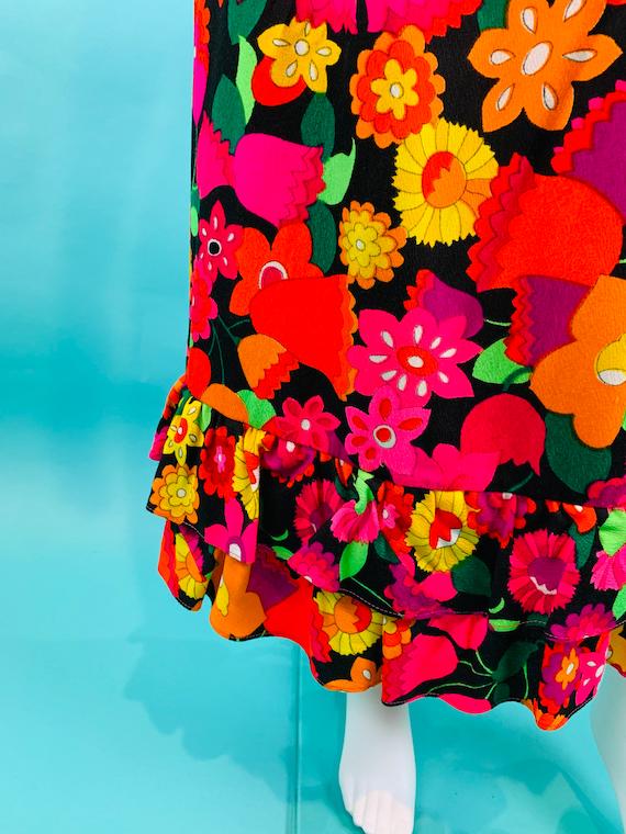 Vintage 1970s Neon Skirt | Handmade Tulip Print T… - image 6