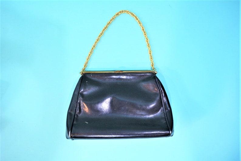 Vintage 50s Leather Purse  Navy Blue Koret Calfskin Gold image 0