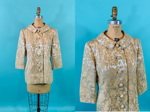 Vintage 1960s Brocade Jacket   Gold Yellow Floral