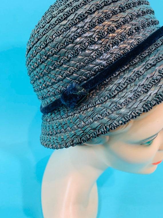 Vintage 1950s Wicker Hat | Small Brim Straw Cap - image 6