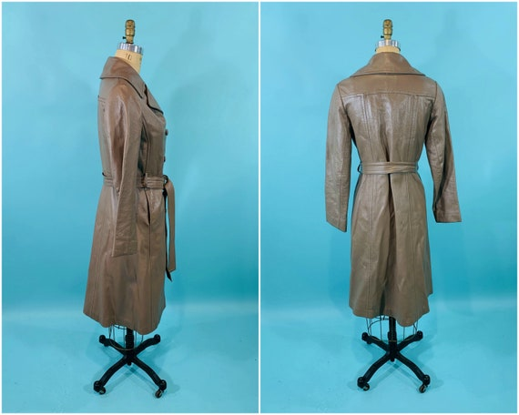 Vintage 1970s Leather Jacket   Taupe Faux Leather… - image 9