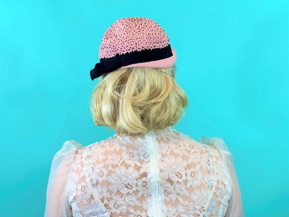 Vintage 1950s Pink Hat | Floral Rhinestone Mohlfe… - image 5