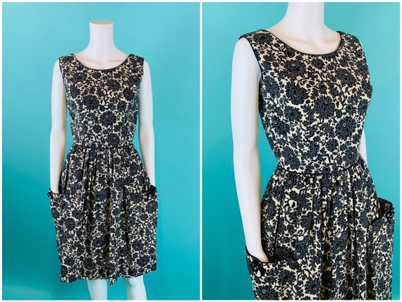Vintage 1950s Toile Dress | Black & White Lynbrook