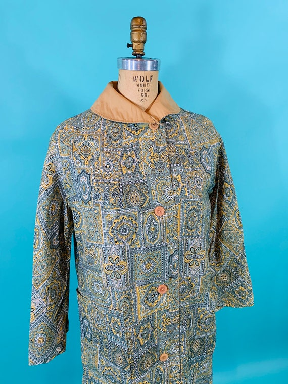 Vintage 1960s Reversible Trench   Paisley Print G… - image 5