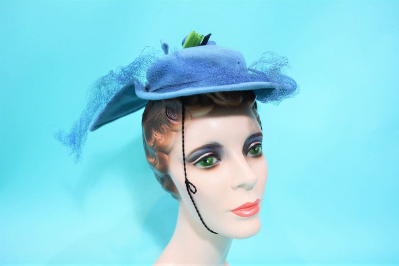 Vintage 1950s Hat  Nora Hats NY Blue Floral Mini Hat AS IS image 0