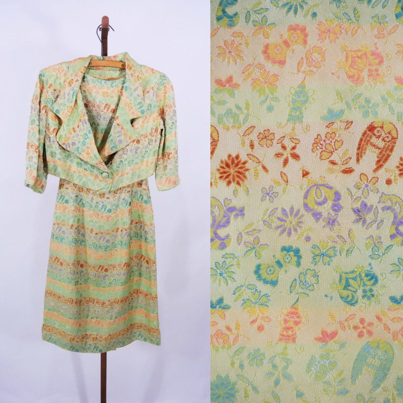 Vintage 1950s Brocade Dress  Green Satin Ethnic Cocktail image 0