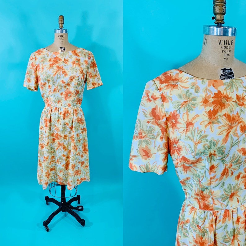 Vintage 1960s Floral Dress  Orange Flowers Mid Century Short image 0