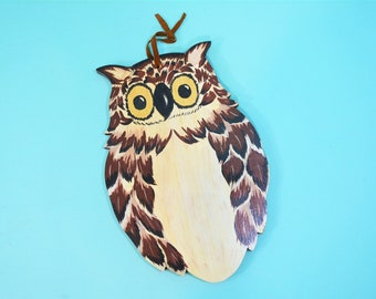 Vintage Wall Hanging   1970s Hand Painted Wood Owl Decor