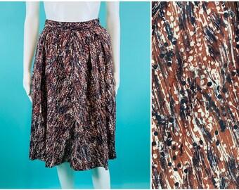 "Vintage 1950s Cotton Skirt   Brown Black Speckled Artistic Print Skirt   W 22"""