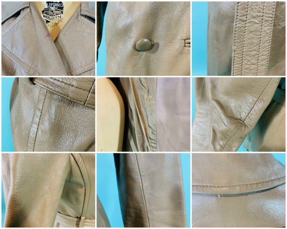 Vintage 1970s Leather Jacket   Taupe Faux Leather… - image 10