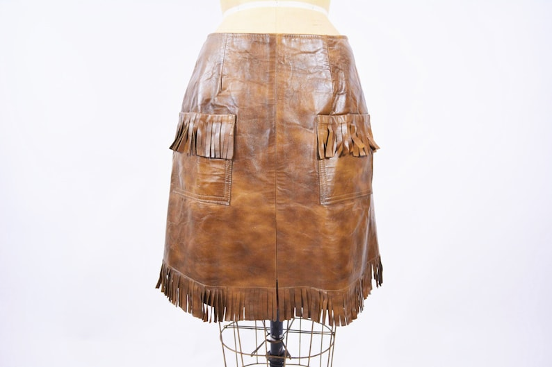 Vintage 1960s Cowgirl Skirt  Brown Faux Leather Fringe Pinup image 0