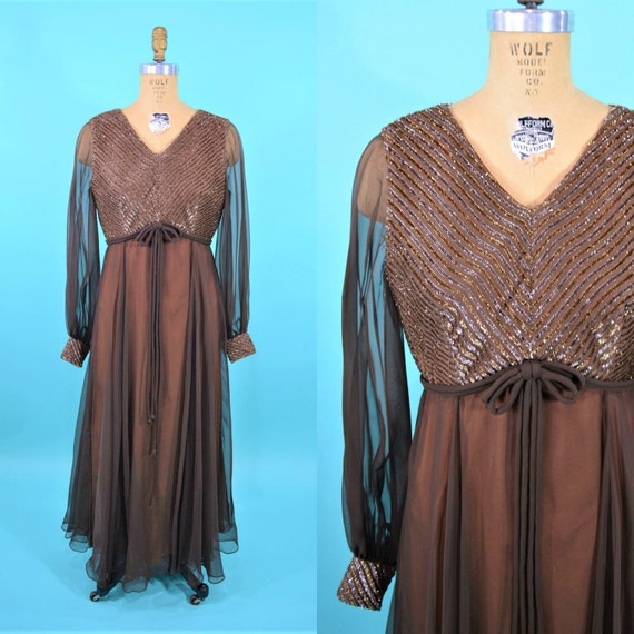 Vintage 1970s Evening Dress | Brown Sheer Sleeve O