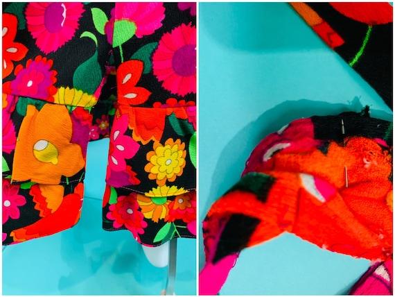 Vintage 1970s Neon Skirt | Handmade Tulip Print T… - image 9