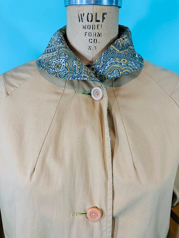 Vintage 1960s Reversible Trench   Paisley Print G… - image 4