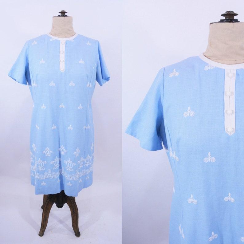 Vintage 1960s Shift Dress  Blue Embroidered Linen Dress  B image 0