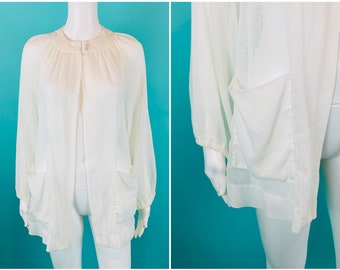 """Vintage 1960s Cover Up   Alexa from Sunny California Sheer Cream Pool Open Top   B 38"""""""