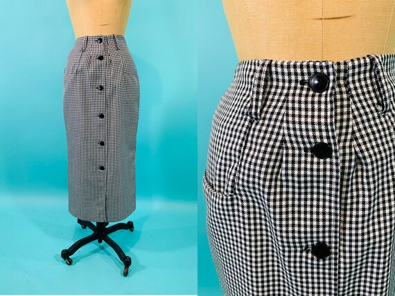 Vintage 1960s Mod Skirt | Checkered Black White Bu