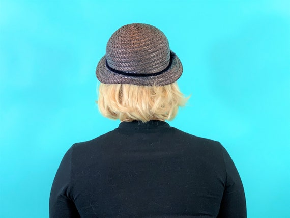 Vintage 1950s Wicker Hat | Small Brim Straw Cap - image 9