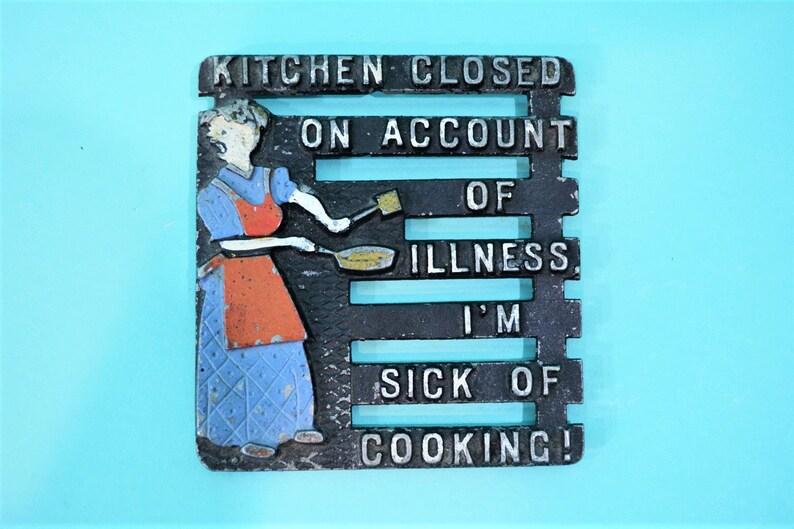 Vintage Metal Trivet  Kitchen Closed On Account Of image 0