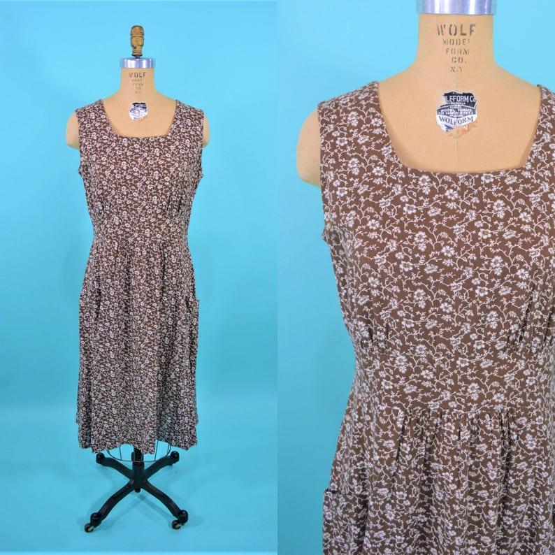 Vintage 1960s Sun Dress  Floral Brown White Dress  W image 0