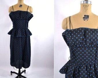 "Vintage 1980s Pencil Dress   Polka Dot 1950s Style Pinup Sundress   W 27"""