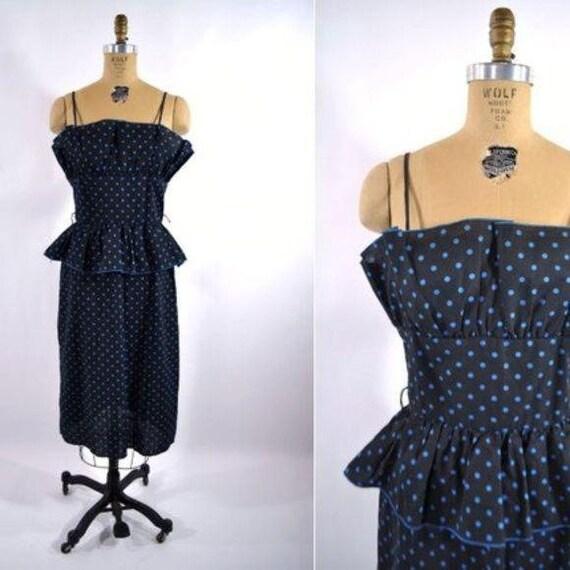 Vintage 1980s Pencil Dress | Polka Dot 1950s Style